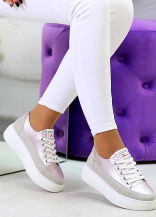 Світлі рожеві сірі жіночі кросівки, кеди кріпери натуральна шкіра - замша .светлые розовые серые женские кроссовки кеды криперы натуральная кожа7 фото