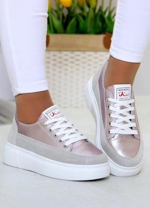Світлі рожеві сірі жіночі кросівки, кеди кріпери натуральна шкіра - замша .светлые розовые серые женские кроссовки кеды криперы натуральная кожа8 фото