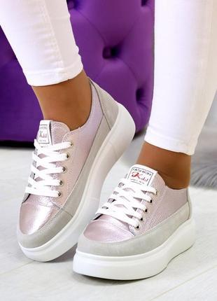 Світлі рожеві сірі жіночі кросівки, кеди кріпери натуральна шкіра - замша .светлые розовые серые женские кроссовки кеды криперы натуральная кожа4 фото