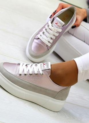 Світлі рожеві сірі жіночі кросівки, кеди кріпери натуральна шкіра - замша .светлые розовые серые женские кроссовки кеды криперы натуральная кожа3 фото