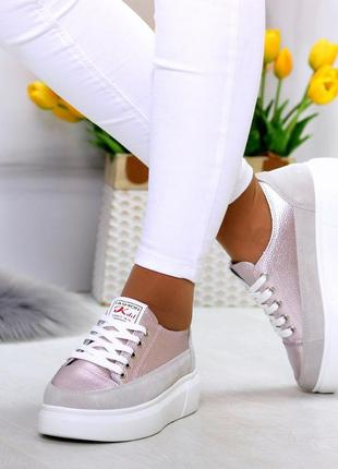 Світлі рожеві сірі жіночі кросівки, кеди кріпери натуральна шкіра - замша .светлые розовые серые женские кроссовки кеды криперы натуральная кожа6 фото