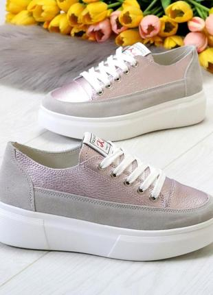 Світлі рожеві сірі жіночі кросівки, кеди кріпери натуральна шкіра - замша .светлые розовые серые женские кроссовки кеды криперы натуральная кожа2 фото