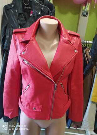 🍉🍉🍉🍉❤❤🍓бомбезная яркая  стильная красная куртка косуха zara