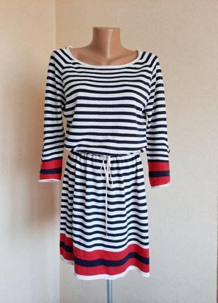 Платье h&m полосатое хлопок сукня плаття в полоску трикотажное в морском стиле