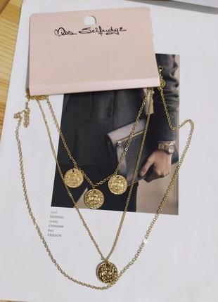 Новое многослойное колье miss selfridge ожерелье золотистое asos подвеска кулон цепочка