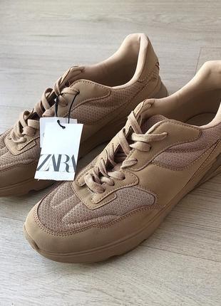 Новые коричневые бежевые кроссовки зара zara