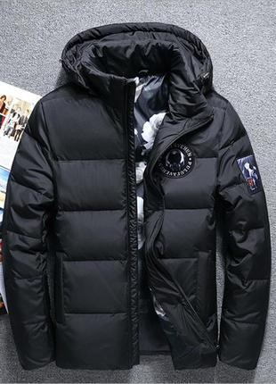 Лёгкий удобный мужской водонепроницаемый пуховик куртка, чёрный