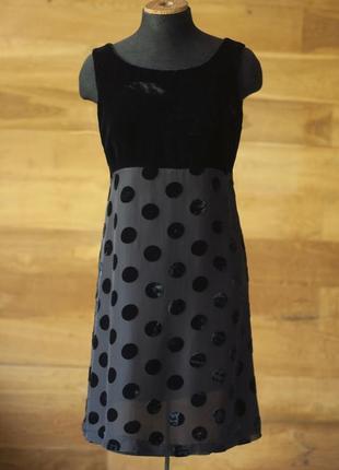 Коктельное черное шелковое велюровое платье в горох женское marilyn anselm hobbs, размер s, m