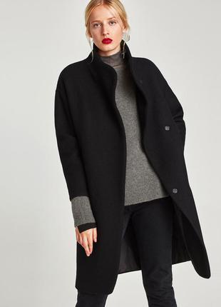 Новое длинное пальто с высоким воротником zara (xs,s,m,l)
