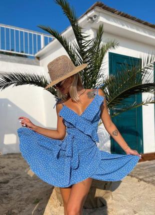 Платье сарафан на запах в мелкий горошек