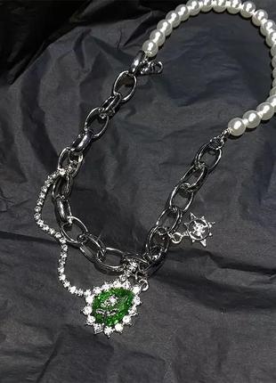 Яркое стильное ожерелье цепь