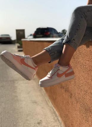 Nike air force shadow orange white кроссовки найк женские форсы аир форс кеды обувь взуття3 фото
