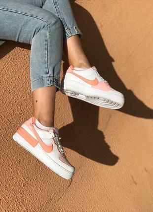 Nike air force shadow orange white кроссовки найк женские форсы аир форс кеды обувь взуття4 фото