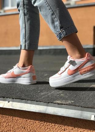 Nike air force shadow orange white кроссовки найк женские форсы аир форс кеды обувь взуття