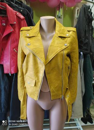 🍋🍋🍋💛💛💛шикарная стильная ярко-горчичная куртка косуха missguided
