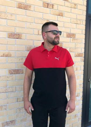 Мужское поло puma чёрно-красное   літня чоловіча футболка   пума весна-осінь