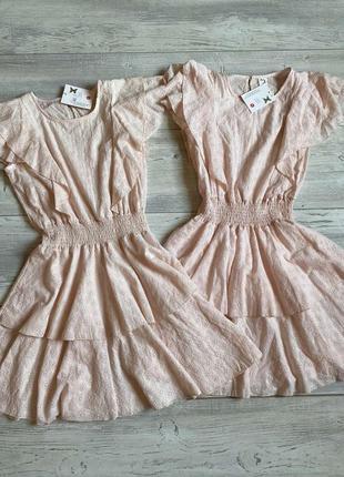 Платье пудровые из прошвы