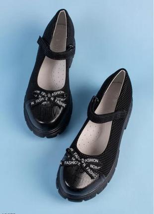 Чёрные туфли нарядные в школу  для девочки супинатор школа с бантиком