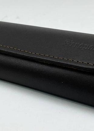 Футляр чехол для очков из натуральной кожи компактный на магните классический футляр для окулярів