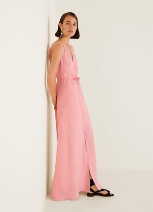 Шикарное длинное платье в пол из льна, льняное платье mango, сукня максі з льону