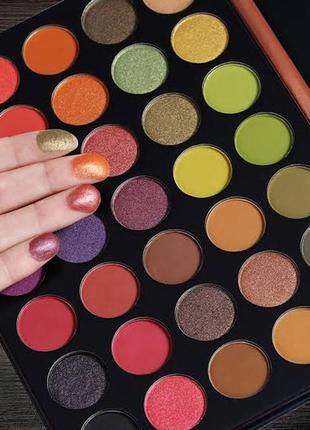 🧡💚💜 профессиональная палетка теней для век beauty glazed popping eyeshadow palette (35 color)6 фото