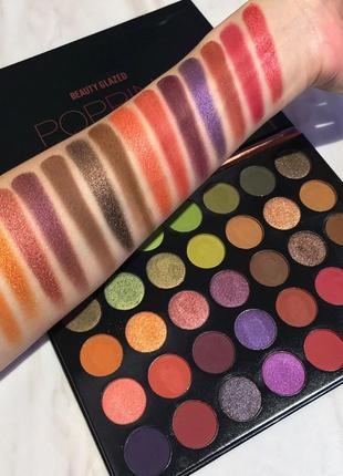 🧡💚💜 профессиональная палетка теней для век beauty glazed popping eyeshadow palette (35 color)2 фото