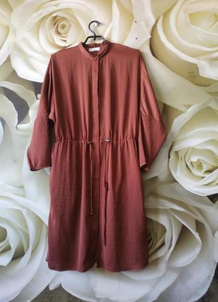 Стильное платье -рубашка платье свободного кроя