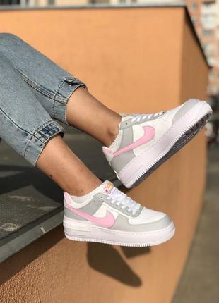 Nike air force shadow grey кроссовки найк женские форсы аир форс кеды8 фото
