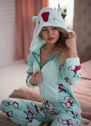 Женская пижама комбинезон с карманом на попе попожама popojama мятная