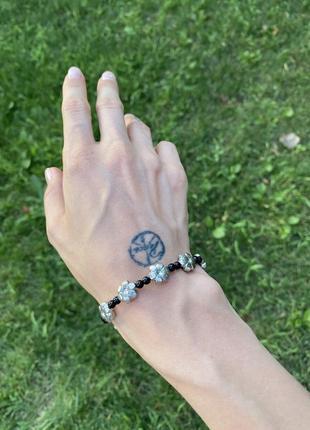 Браслет из бисера и бусин браслет на руки бисерный бусины цветочки ручная робота браслет с бусинами