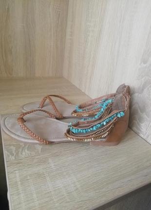 Босоножки, вьетнамки кожаные с бирюзой 41 размер