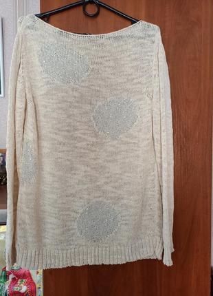 Женская кофта свитер бежевого цвета