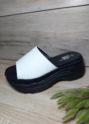 Шлепанцы на платформе 🌿 шльопки на танкетке сандалии классика