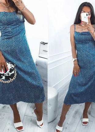 Платье женское летнее легкое миди длинное в горошек нарядное синее