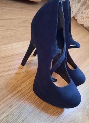 Туфли темно-синие высокий каблук