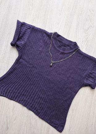 Стильный укороченный фиолетовый топ футболка