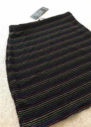 Ликвидация 🔥🌈полосатая нарядная мини юбка с люрексом boohoo