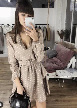 Лянное платье в горох