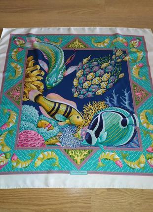 Винтажный прекрасный фирменный шарф платок из натурального шелка