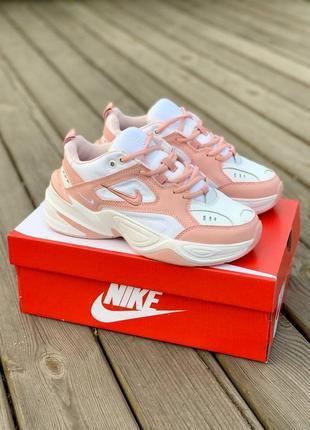 Nike m2k tekno white pastel strawberry белые розовые женские кроссовки найк жіночі білі рожеві кросівки