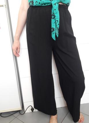 Шикарные  брюки палацо палаццо палацио натуральные с высокой посадкой чёрные италия