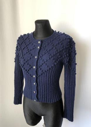 Синяя кофточка укороченная баварский стиль шерсть