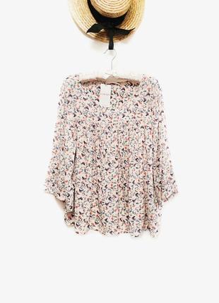 Новая натуральная блуза вискоза с цветочным принтом премиум бренда camaïeu размер 16