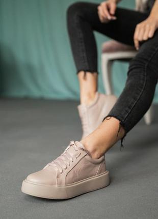 🔥🔥🔥 натуральная кожа! базовые бежевые кроссовки