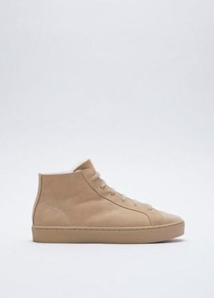 Кеды , кроссовки с мехом кожа zara