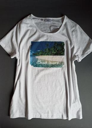 Білосніжна футболка ✨ базовая футболка белая с принтом морскойаринт bpc collection bonprix