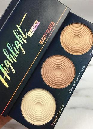 ✨🏵️палетка сияющих хайлайтеров beauty glazed highlighter (3 color)