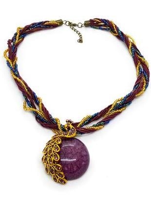 """✨💜 колье в винтажном стиле """"фиолетовый павлин"""" бисер, кристаллы, вощеный шнур"""