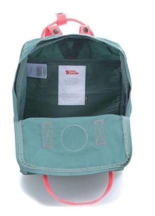 Водонепроницаемый рюкзак fjallraven kanken 16л портфель зеленый с розовыми ручками канкен школьный женский3 фото