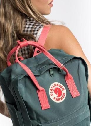 Водонепроницаемый рюкзак fjallraven kanken 16л портфель зеленый с розовыми ручками канкен школьный женский2 фото